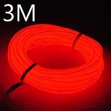 Lychee portátil 9 Pies 3M de neón que brillan intensamente del efecto estroboscópico electroluminiscente EL alambre con controlador de la caja de la bacteria para decoración de Navidad, las Fiestas rave, disfraz de Halloween (3M&rojo)