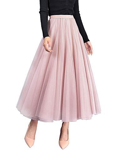 Damen Langer Tüllrock A Linie Tüll Röcke Einheitsgröße Elegante Hochzeit Tutu Maxiröcke (Rosa, Einheitsgröße)