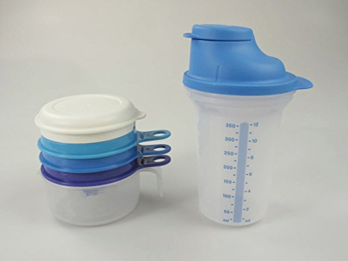 TUPPERWARE Backen Shaker Shake-It 350ml blau+Küchenperle Küchenhelfer Backhelfer P 20866