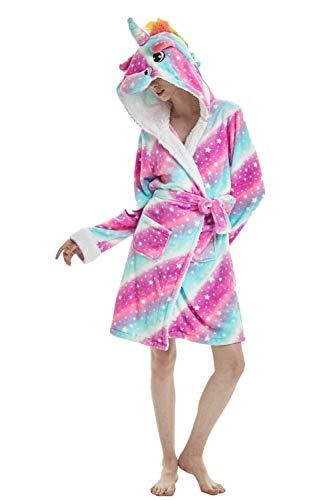 Einhorn Schlafanzug Damen Winter Pyjama Bademantel Flanell Tiere Ankleiden, Einhorn - 1, L: (Passend für Höhe 165-175 cm )