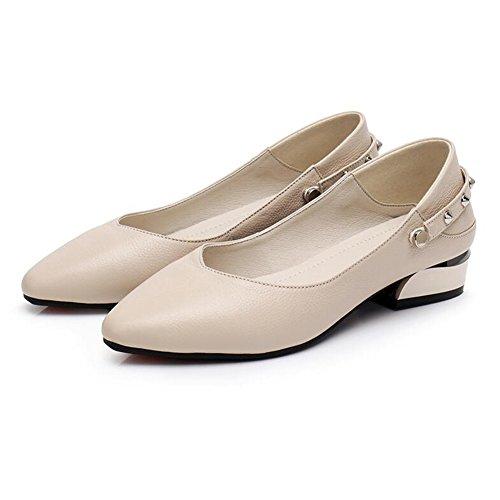 QIDI-sandalen QIDI Freizeitschuhe Frau Atmungsaktiv PU Modisch Flacher Boden Lederschuhe (Farbe : T-1, Größe : EU38/UK5.5)
