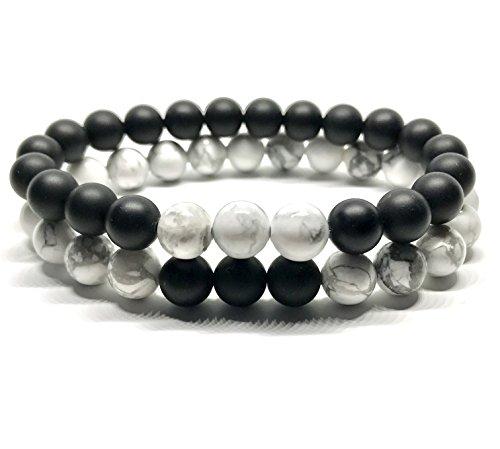 GOOD.designs Partnerarmband aus 8mm Onyx-Howlith-Natursteinen, Freunschaftsarmband einzeln oder im Partnerset, Yin Yang-Bracelet (Howlith/Onyx)
