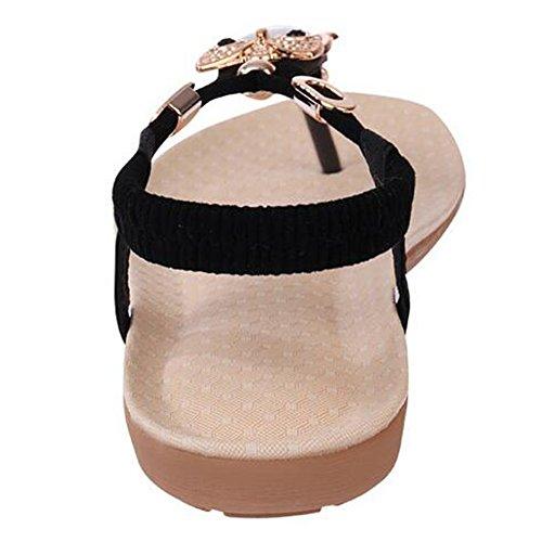 SUNAVY Damen Böhmen Sommer Flach Sandalen mit Pearl Eule Peep Toe Flip Flops Schwarz