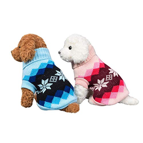 Fenverk_Haustier Hund Katze Winter Warm Rollkragen Sweatshirt Mantel KostüM Bekleidung Jacke Kleider Hoodies Jumper Zum HüNdchen Klein Mittel Groß Hunde Overall Kleidung(A-Blau,XS) (Warme Kostüm Für Kleinkind)