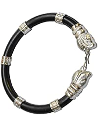 NPRC Lion Head Rubber Black And Silver Rubber And Alloy Bracelet For Men And Women