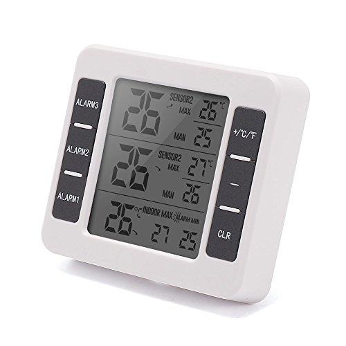 XMAGG® Wetterstation mit Außensensor, Digital Thermometer-Hygrometer für Innen und außen, Wettervorhersage Meter Indoor Outdoor Wetter Station mit C/F Max Min Wert Display,B