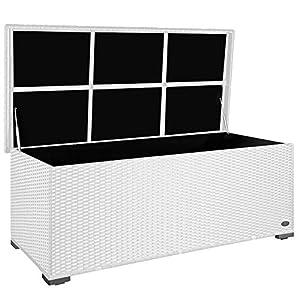 RS Trade Premium 'Sienna' 650l Polyrattan Garten Kissenbox wetterfest (regnet Nicht rein) 155 x 73 x 60 cm, Auflagenbox mit verstärktem Deckel und Gasdruckfedern, als Sitztruhe oder Tischplatte, Weiß