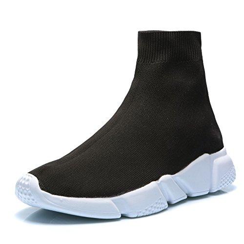 MForshop Scarpe Donna Uomo Ginnastica Sneakers calzino No Lacci Palestra Corsa K3600 (42, Nero Uomo)