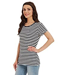 Tommy Hilfiger Womens Striped T-Shirt (P7AJK156L_Snow White and Blue)