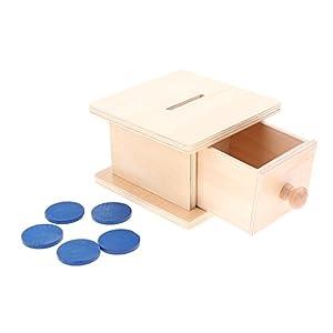 Sharplace Montessori Infilare Gettoni Scatola Di Legno Per Moneta Wood Coin Box