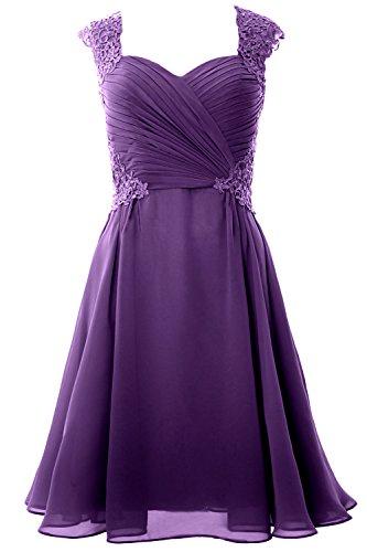 MACloth - Robe - Trapèze - Manches Courtes - Femme purple