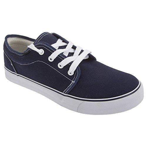 Dek Jungen 4 Ösen Leinen Deck Schuhe zum Schnüren Blau