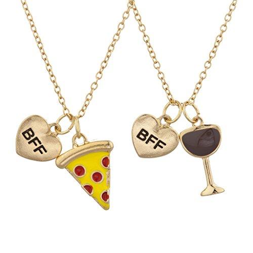 LUX Zubehör Gold Ton Pizza und Wein BFF Best Friends Charm Halskette Set 2pc