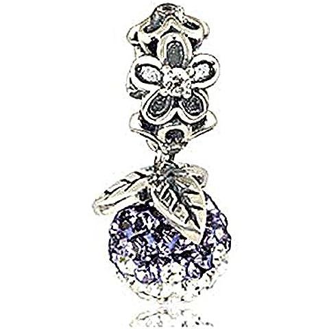 Pendenti di cristallo, colore: Viola/Bianco, con ciondolo a forma di fiore, in argento Sterling 925, adatto per Pandora, Chamilia, ecc. i braccialetti europei