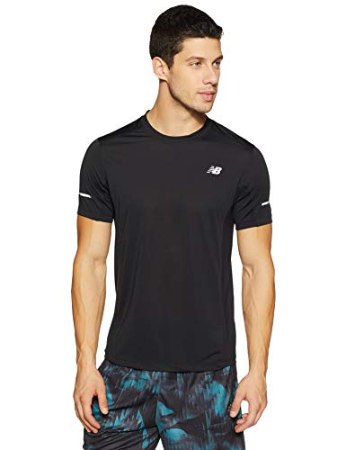 New Balance Core SS Running Camiseta, Hombre, Negro, Large