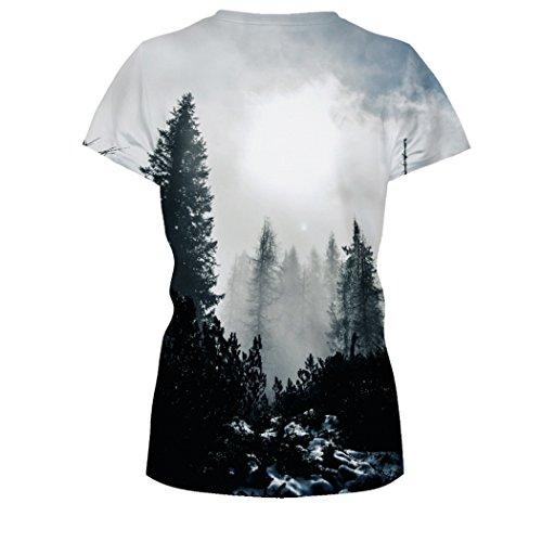 MILEEO Damen Basic T-shirt Skull Schädel Shirt mit Rundhals Klassisch Rundhalsshirt Kurzarm Tops Stil 16
