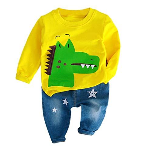 Büro Dinosaurier Im Kostüm - Dasongff Baby Jungen Kleidung, Kleinkind Kinder Sweatshirt Dinosaurier Cartoon Pullover Lange Ärmel Tops+Lange Hosen Jeans Outfits Babykleidung Set