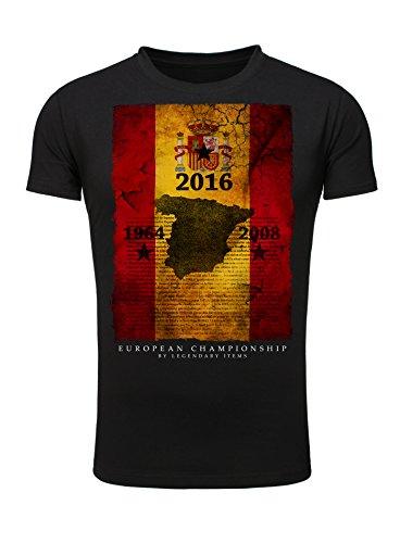 Legendary Items T-Shirt Spanien Spain Fussball Football EM 2016 Männer Shirt Fahne Flag schwarz XXL