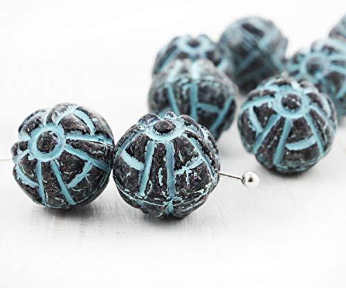 6pcs Opak Jet Schwarz Matt-Blau Patina Waschen, Runde Geschnitzte Ethnische Gestreiften Tribal-Tschechische Glas-Perlen-11mm