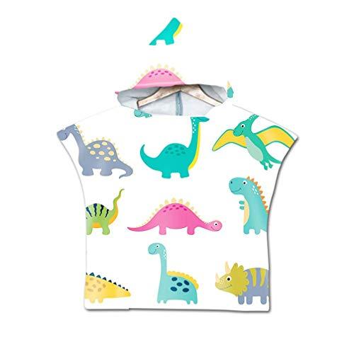 HNHDDZ Strandtuch Kinderrobe Handtuch Poncho Kapuze Decke zum Surfen Schwimmen Badetuch Werden Kleidung, Leicht Zu Tragen Bademantel - Cartoon Tier Dinosaurier Giraffe (Dinosaurier 2) - Leichte Kleidung Tragen