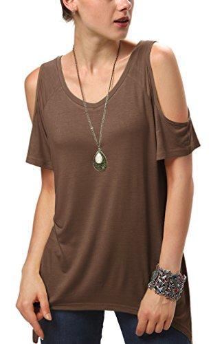 Urbancoco Damen Vogue Schulterfrei unregelmäßige sidetale Tunika Top Shirt (M, braun) Top-Angebote