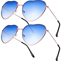 Boao 2 Pairs Hippy Specs Glasses Heart Shaped Sunglasses for Hippie Fancy Dress Accessory, Rose Gold Frame (Gradient Blue Lens)