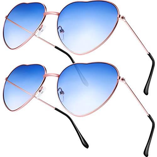 80's Kostüm Bunte - 2 Paare Hippy Brille Herz Geformt Sonnenbrille for Hippie Verrücktes Kleid Zubehörteil, Rose Gold Rahmen (Gradient Blue Lens)