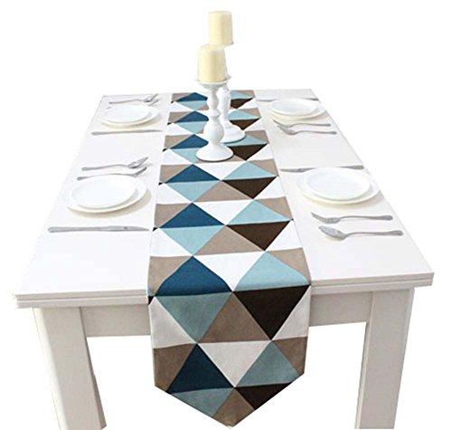 1pc Coton Creative Géométrie style Table Top Décoration Bleu Chemin de Table