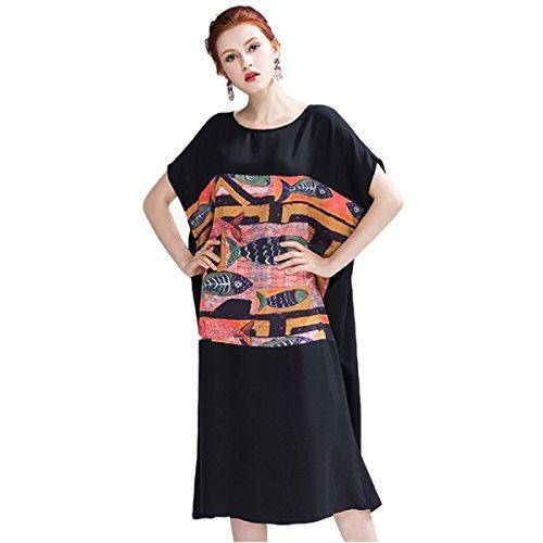 HGDRSpring Und Sommer Frauen Große Größe Lose Art Und Weise Kleid A