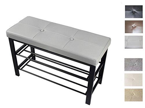 Duhome Schuhbank mit Sitzauflage Grau, 5-8 Paar Schuhe, offenes Schuhregal, Sitzbank mit Schuhablage, Auflage Kunstleder oder Stoff, Sitzbank