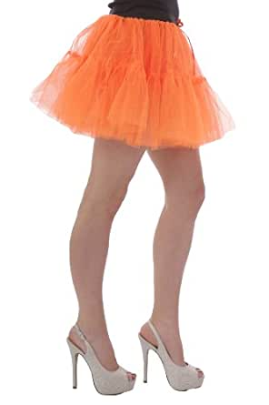 Neon Tutu Skirt, 14 inches Long, 2 tiered, size 8 to 20 (8 to 14, Neon Orange)