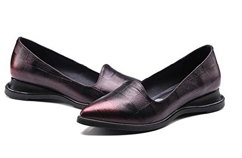 Beauqueen Pompe Slip-on Lerther Elegante Pointrd-Toe Chunky Low Heel Uffici Uffici Casual Scarpe Europa Size 34-39 red wine