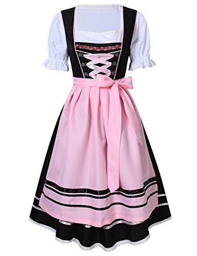 KoJooin Trachtenkleid midi Dirndl Set 3 Teilig mit Bluse Schürze Damen Kleid für Oktoberfest (42,Schwarz-Rosa )