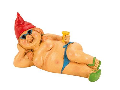 Zwergin nackt 23 cm liegend mit roter Mütze Figur FKK Gartenzwerg