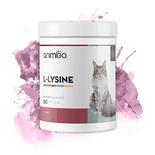 Animigo L-Lisina para Gatos - Suplemento Natural Inmunitario - con L-Lisina, Levadura de Cerveza, Pectina Cítrica - Rico en Aminoácidos, Vitaminas y Minerales - 60 Cápsulas Blandas