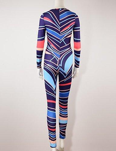 GSP-Combinaisons Aux femmes Manches Longues Sexy / A Motifs Polyester Fin Micro-élastique multi-color-l