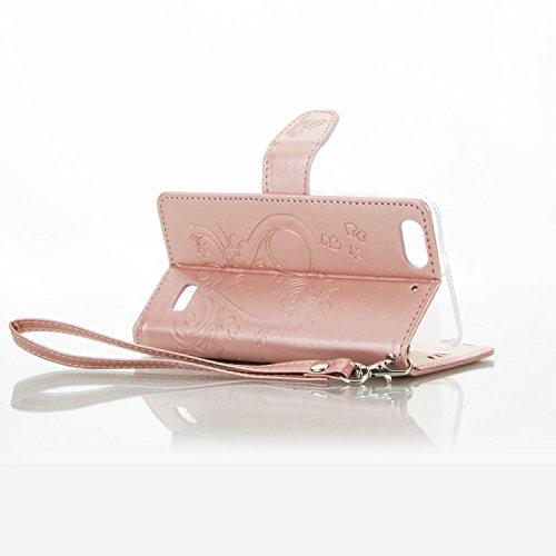 Leather Case Cover Custodia per Huawei G Play mini / Huawei Honor 4C ,Ecoway Caso / copertura / telefono / involucro del modello PU con a Bookstyle tasche carte di credito funzione con interno morbido oro rosa