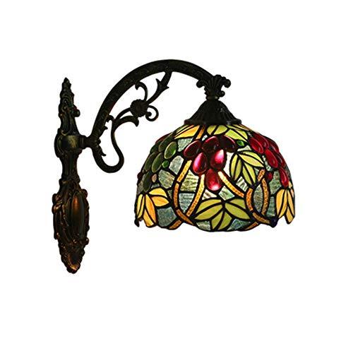 HWJF Wandleuchte Schüssel Schatten Tiffany Lampe Wandlampe 8 Inchc Wandleuchte Industrielle Retro Vintage Traubenwand - Glas Schüssel-schatten