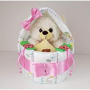 Windeltorte, Korb aus Windeln rosa, Geburt, Taufe, Geschenk für Mädchen, Baby Party, Pampers Gr.3, Kuscheltier-Bär