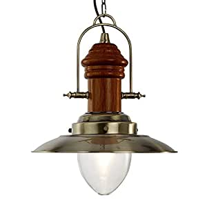 Searchlight 60watt Antique Brass and Wood Finish Fisherman Style Ceiling Pendant, 3301AB