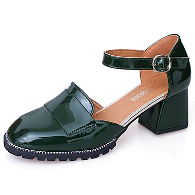 delle donne sandali estivi Comfort PU esterna tacco basso fibbia Almond Green Black Walking US6.5-7 / EU37 / UK4.5-5 / CN37