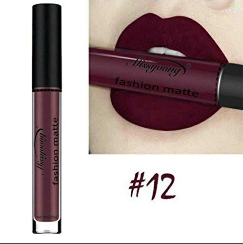 Bluestercool Liquide Rouge à lèvres, Velours Lipstick Cosmétique Beauté Maquillage, 12 Couleurs (12#)