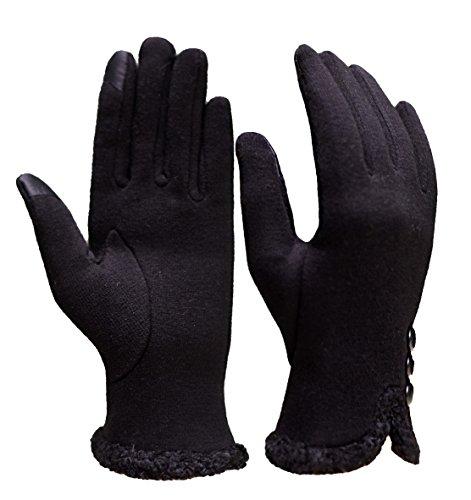 Tuopuda® Guantes de Invierno para Mujer Elegantes Guantes de Pantalla Táctil (botón negro)