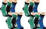 RS. Harmony - Calze e calzini da calcio per bambini 12 Paar - Schwarz, Blau, Grün 27/30 IT