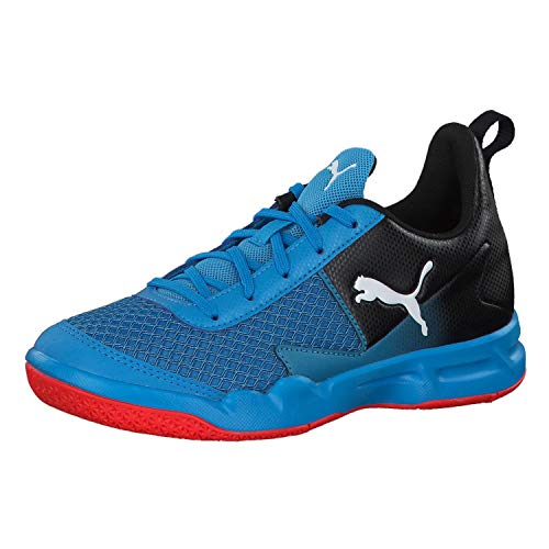 Puma Unisex-Kinder Rise Xt 4 Jr Handballschuhe Blau (Bleu Azur-Red Blast Black 4), 30 EU