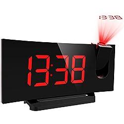 Mpow Radio Réveil FM à Projection avec Double Alarme, Fonction Snooze, Grand Ecran Chiffres 12/24h, Port de Chargement USB pour Téléphone Portable Cadeau - Rouge