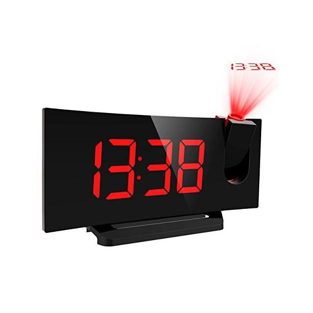 Mpow Radio Réveil FM à Projection avec Double Alarme, Fonction Snooze,  Grand Ecran Chiffres ... d1baa0e3c1f