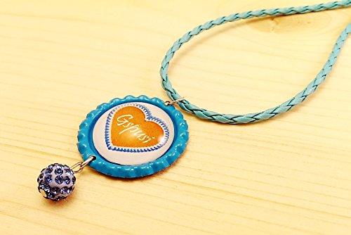 Kette Kronkorken Dirndl / Tracht - Herz mehrere Motive / Sprüche und Shamballa Perle Anhänger - verschiedene Farben – Handmade