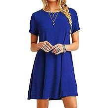 79172c83c5f ISSHE Robe Tee Shirt Courte Femme Robe Tunique Manche Courte Robes Chemise  Droite Fluide Ample Simple