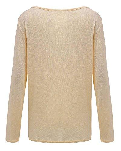 T Shirt Donna Elegante Top Rotondo Collo Taglie Forti Manica Lunga Blusa Sciolto Camicia Primavera Puro Colore Casual Camicetta In Maglia Ufficio Gialli